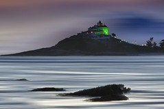 N S Nazaré at night (Daniel Schwabe) Tags: sunset beach church water rock photoshop twighlight nsnazaré