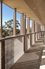 Keeling Apartments (Chimay Bleue) Tags: california school light shadow sun metal modern campus grid la hall san university ray apartments pattern view terrace contemporary patterns timberlake dorm diego screen grill hallway sidewalk walkway residence dormitory jolla ucsd sunscreen brisesoleil keeling kieren kierantimberlake