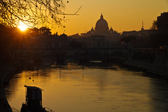Vatican Sunset (trickyd3) Tags: sunset italy rome river tiber lazio thevatican saintpetersbasilica rivertiber theeternalcity romesunset rememberthatmomentlevel1 vaticansunset