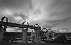 Falkirk Wheel II (w.mekwi photography [here & there]) Tags: longexposure sky blackandwhite landscape cloudy engineering atmospheric falkirkwheel nikkor18105mm nikond7000 wmekwiphotography mekwicom