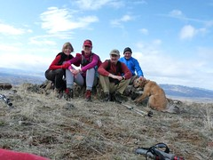 The crew - Driver, Janet, Jim, Barry and Gus on Gracie Point (note, blue skies!)