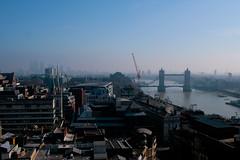 Hazy London (Mikepaws) Tags: city uk greatbritain bridge england london tower skyline architecture skyscraper spring cityscape hill capital east docklands canarywharf riverthames 2012