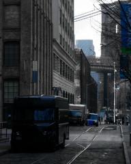 Blue (mheidelberger2000) Tags: street nyc newyorkcity blue winter urban skyline brooklyn truck dumbo historic cobblestone brooklynbridge delivery gothamist paver ortonprocess