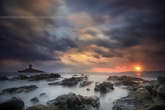Face To Face, Sunset to Port Poussai, Cap Dramont #4 ~ Var // France ~ (Yannick Lefevre) Tags: longexposure sunset seascape france tower castle clouds photoshop landscape nikon raw nef tripod dramatic wideangle ps provence dri var gettyimages manfrotto rockscape frenchriviera d300 nd400 sigma1020 poselongue skymotion nikoncapturenx iledor ledramont capturenx2 portpoussai yllogo yannicklefevre||photography filtrendhoya