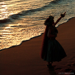 A hula performed on the beach in Ka'anapali at sunset.