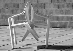 Not one without the other (Tinina67) Tags: light shadow two bw white france love pool chair mood furniture tina sw without leaning challenge odc gers tinina67