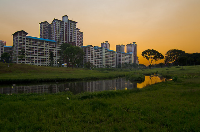 Singapore Bishan Park beautiful Sunset