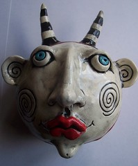 Whimsical Devil Head (jodieflowers) Tags: silly art ceramic fun clay heads whimsical wallhangings
