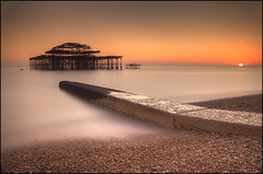 Memories (Ben Locke (Ben909)) Tags: longexposure sunset sea bw coast pier brighton westpier nd110