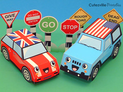 Printable Paper Mini Car, Jeep & Road Signs (Cutezville Printables) Tags: party cute cars kids digital paper fun toy toys diy jeep wheels craft mini file download pdf roadsigns etsy ideas template papermaking redcar printable cutesville papergoods paperelements cutezville