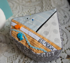 SS Moda Pincushion (Cut To Pieces) Tags: moda slice button pincushion mermaid rickrack jellyroll peasandcarrots crushedwalnutshells pezzyprint