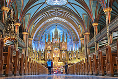 Montreal Notre-Dame Basilica (Kingsman Photography) Tags: travel blue roof decorations sculpture canada reflection history church window glass worshipping sunshine mystery architecture lights design worship heaven catholic christ cathedral quebec montreal interior religion landmark ceiling historic resort christian altar spire holy ornament dome vaulted notre dame pillars inspire pulpit revere magnificent relic wounderful riligious