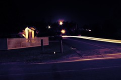 Suburban Night: car trails (alesha joy.) Tags: road street houses light cars night darkness trails slowshutter neighbourhood suburbannight