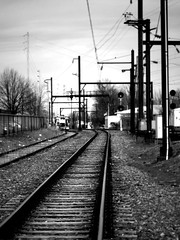 tracks leading... ? (damonabnormal) Tags: street city railroad urban blackandwhite bw philadelphia train march commerce fuji streetphotography rr trains pa philly phl fujinon freight 2012 railroadtracks 215 x10 urbanite railbed rrties fujix10