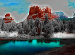 Sedona Panarama with the Snows of Summer (Rusty Russ) Tags: blue winter red summer arizona mountains fall nature photoshop yahoo spring google flickr image mother photographers sedona getty merge bing direct panarama blend facebook snows manipulate stumbleupon daum