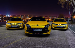Trio. (Explored) (Ni.St|Photography) Tags: blue hot sport yellow night river nikon serbia clio renault tokina trophy hatch belgrade gt dslr rs beograd f28 megane srbija 1116 r26