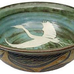 "<b>Heron Bowl</b><br/> David Aurelius '72, Ellison Bay, Wis. Pond Farm 1972, 1974, 1978-80 ""Heron Bowl"" stoneware, 1997-98 4-7/8"" x 14"" LFAC 2002:05:20 <a href=""http://farm8.static.flickr.com/7062/7042490171_4a77b3f7a6_o.jpg"" title=""High res"">∝</a>"