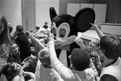 Blind children meet Mickey Mouse by touch at Perkins School for the Blind, Watertown (Boston Public Library) Tags: medicine hospitals medicalstudents spencergrant