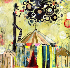 Brooklyn Carnival (andrea_daquino) Tags: carnival art collage illustration brooklyn paper tents paint drawing mixedmedia barker baloons multimedia