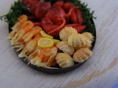Lobster, Scallps and Shrimps (Shay Aaron) Tags: food fish dinner miniature handmade salmon crab prawns mini clam gourmet polymerclay fimo tiny deli seafood oysters appetizer mussel scallop crustacean 12th 112 luxury lux platter preparation dollhouse petit oneinchscale shayaaron scaleoneinch