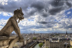 I Contemplate Paris (J.P | Photography) Tags: life wallpaper sky paris france tower clouds french photography nikon tour angle cloudy eiffeltower bluesky eiffel ps notredame gargoyle cathdrale jp toureiffel capitale uga contemplate hdr gargouille parisian hdri tourisme touristique lightroom 1024 parisien photomatix damedefer jpphotography d7000 djpig91