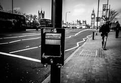 Push or Wait (futyesz) Tags: street uk bridge blackandwhite bw london funny crossing 28mm bigben gr ricoh houseofcommons