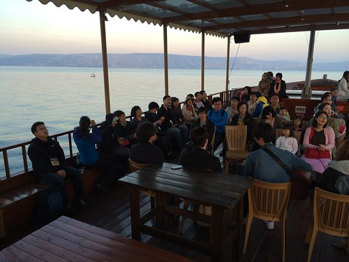 Worship on the boat, Galilee