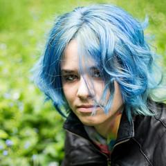 forget-me-not (A><EL) Tags: blue portrait hairdye girl canon square 50mm bokeh outdoor alt scene squareformat bluehair alternative 700d