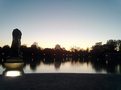 I've been to Madrid (indrarado) Tags: madrid park trip travel sea sun lake holiday water statue naked nude evening spain lion down tourist frog journey retiro