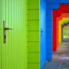 Doors (karldelahaye) Tags: colour beach 35mm handle seaside nikon scarborough colourful beachhuts doorhandle northyorkshire 35mmf18 d5100 nikond5100