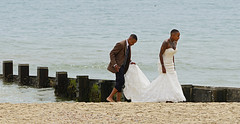 The bride on the tide! (SteveJM2009) Tags: uk wedding sea feet beach wet water june groom bride seaside sand couple married dress suit dorset groyne bournemouth stevemaskell 2016