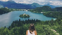 Beautiful Bled (mariajones6) Tags: blue trees sky lake mountains nature girl beautiful clouds trekking walking amazing scenery europe view hiking hike slovenia stunning bled naturalbeauty incredible viewpoint lakebled bledcastle bledisland amazingview ojstrica