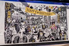 Happy 50th Birthday (Silver Machine) Tags: happy50thbirthday londonbus shoreditch street streetposter billboard lumixg5 lumix lumixg lumixg20mmf17