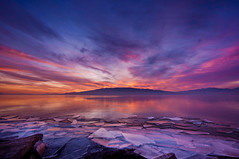 Explosion of Color and Ice (Adam's Attempt (at a good photo)) Tags: pink blue sunset orange mountain lake reflection ice wet water yellow clouds utah nikon rocks colorful hard sharp d90 explosionofcolorandice