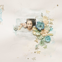 BLUEs girls (ania-maria) Tags: flowers blue girls baby white girl composition scrapbook mom crystals pastel daughter mother pearls pale annamaria scrap aniamaria primaprimamarketing