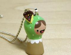 (magicbeanbuyer) Tags: green cake dessert necklace sweet chocolate mint clay handpainted kawaii figurine kokeshi polkadot matryoshka keepsake polymer magicbeanbuyer