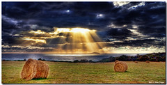 Let there be light (Steve Daggar) Tags: ray tasmania sunbeam haybale godlight