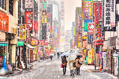 Kabukicho Snow (tokyofashion) Tags: street snow signs storm weather japan umbrella japanese tokyo shinjuku kanji signage kabukicho 2012