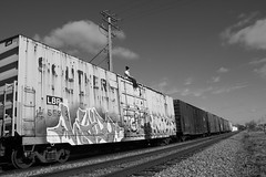 RECKLESS takin it easy (Reckless Artist) Tags: railroad blackandwhite bw white black west cars car minnesota wisconsin train bench photography graffiti photo midwest artist photos box great champs tracks cities twin trains southern photograph graff hybrid burner mn waldo mid freight burners incorporated 2012 reckless tci 2011 bencher illest benched e2e end2end trainchampsinc