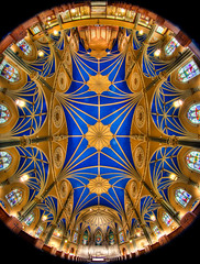 St. Alphonsus 360 (Chris Smith/Out of Chicago) Tags: blue chicago yellow fisheye altar pipeorgan stalphonsus chrissmith churchhdr 5dmarkii 815mm outofchicago