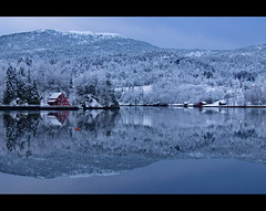 Same shit new wrapping (Richard Larssen) Tags: blue winter sea mountain snow seascape reflection water norway forest landscape mirror coast norge cabin scenery sony norwegen richard flekke alpha scandinavia slt a77 sogn fjordane larssen
