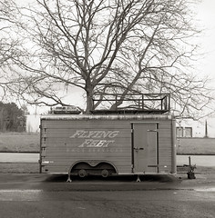 Flying Feet Race Services, Beaverton (austin granger) Tags: film oregon square beaverton trailer incongruous yashicamat austingranger raceservices