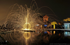 Orb @ Hatton Locks (JRT ) Tags: door longexposure trees windows wallpaper sky reflection building water car night gold lights canal tv nikon lock path steps orb burning spinning van sparks warwickshire balloflight oldvan wirewool hattonlocks d300s wirewoolspinning wirewoolburning johnwarwood flickrjrt