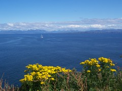 The Mainland Mountains from Kilt Rock Viewpoint, Isle of Skye, July 2011 (allanmaciver) Tags: blue holiday skye green water yellow clouds relax warm view yacht sunny calm special enjoy distance sutherland torridon admire aummer allanmaciver