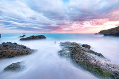 Paradise in winter's day [Explore] (-TommyTsutsui- [nextBlessing]) Tags: longexposure pink blue winter light sunset sea sky seascape beach nature rock japan clouds landscape nikon purple dusk tide scenic shore       izu shimoda   sigma1020   onsalegettyimages