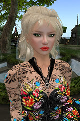2.24. Serenity goes shopping_002 (Q aka dymoon (Qyhat Harbor)) Tags: fashion hair eyes shoes makeup style sl floraldress designerclothes
