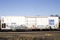 ESHEN - PHRITE (Electric Funeral) Tags: railroad art digital train canon graffiti midwest nebraska paint railway iowa railcar traincar omaha graff aerosol freight reefer freighttrain chilledexpress phrite councilbluffs armn benched benching xti freighttraingraffiti ripphrite eshen