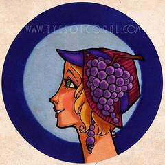 FRUIT - Grape (EYESofCORAL) Tags: ladies portrait color colour art fruit illustration vintage artwork colorful retro lovely nouveau deco stylized copic artset1