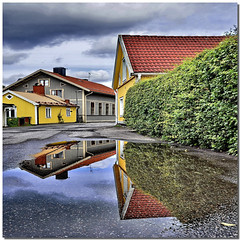 Underground construction project (Nespyxel) Tags: houses reflections puddle colours sweden case sverige extension colori riflessi trosa reflexes svezia pozzanghera sdermanland simmetrie symmetries nespyxel stefanoscarselli