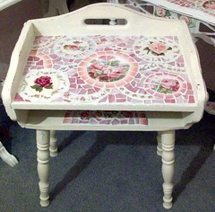 Vintage Childs Desk! Sooo Cute Shabby China Mosaic (Grindstone Mountain Mosaics) Tags: china pink roses broken glass vintage french table
